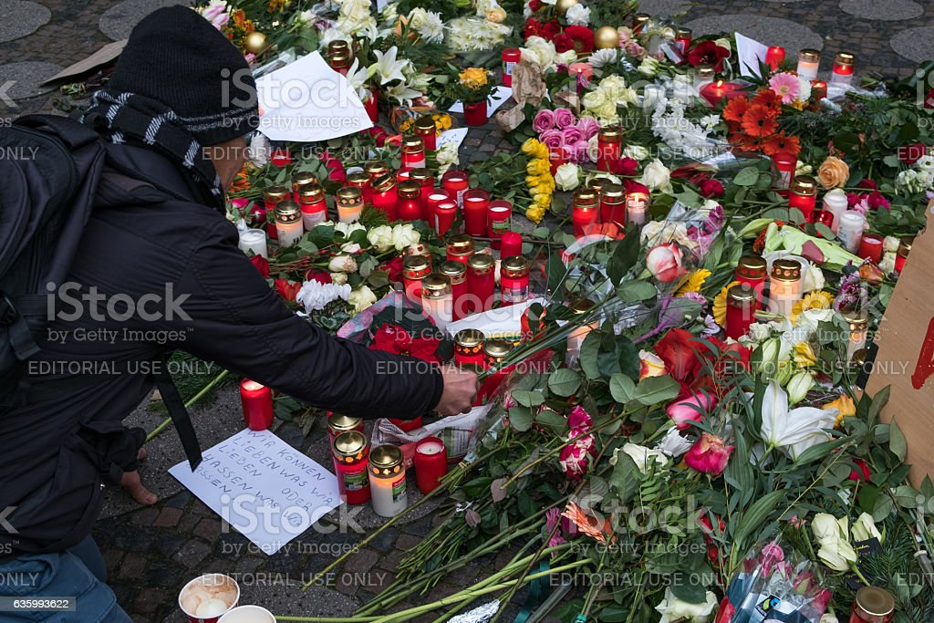 The Christmas Market in Berllin, day after the terrorist attack stock photo