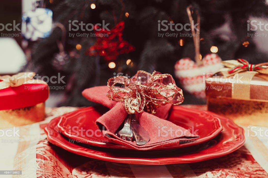 The Christmas tableware stock photo