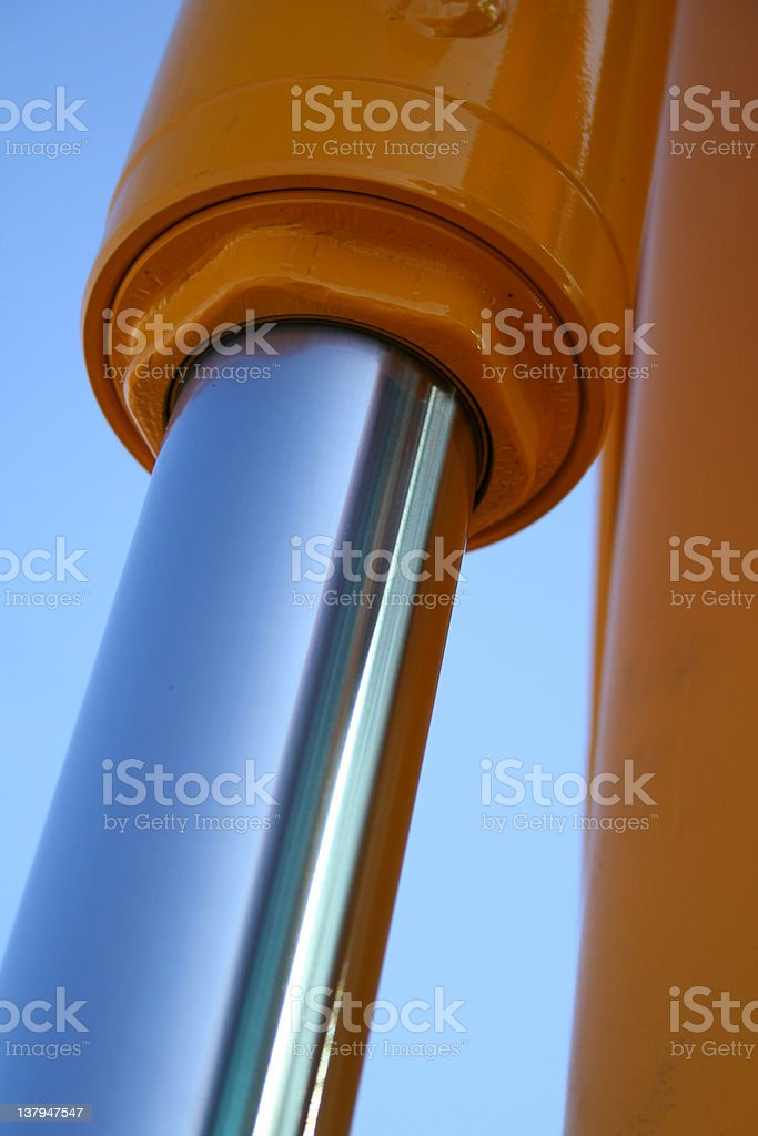 The chromeplated piston in hydraulic system of a dredge royalty-free stock photo