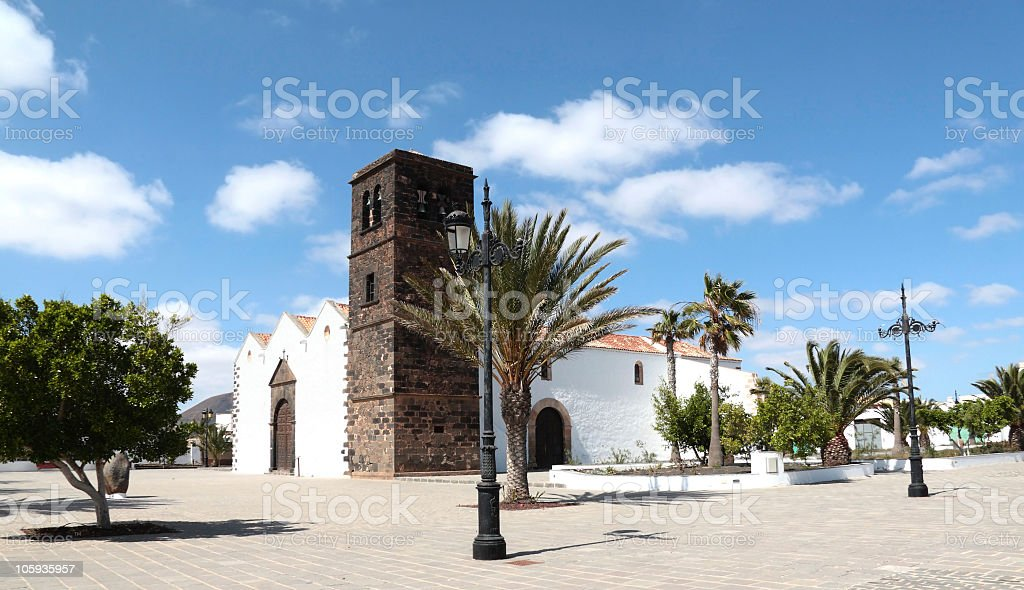 The Church at La Oliva, Fuerteventura, Canary Islands stock photo