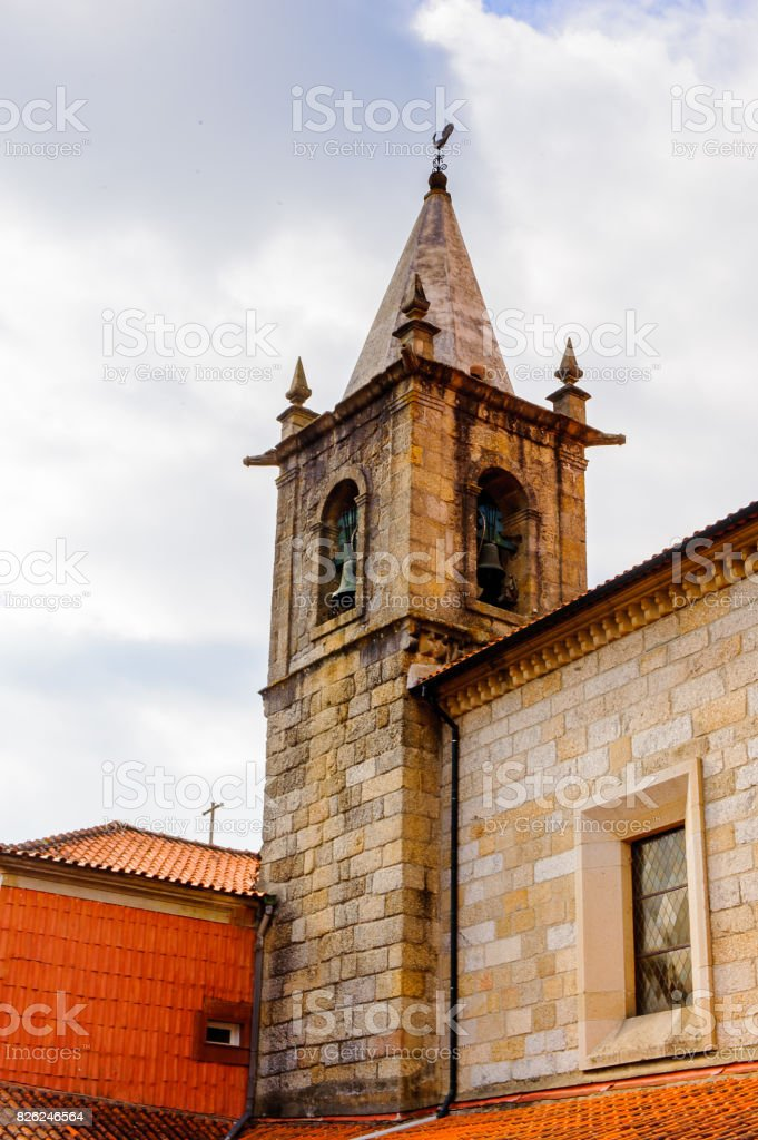 The church in the Toural square of Guimaraes, Portugal. UNESCO World Heritage stock photo