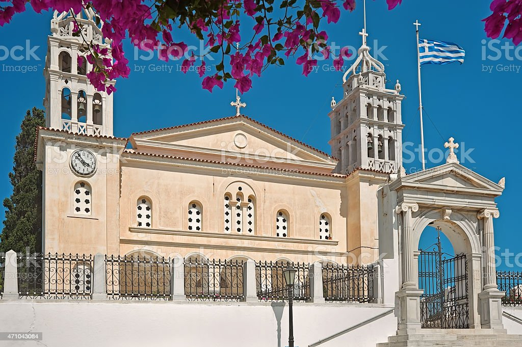 The church of agia triada in Lefkes Paros, Greece stock photo
