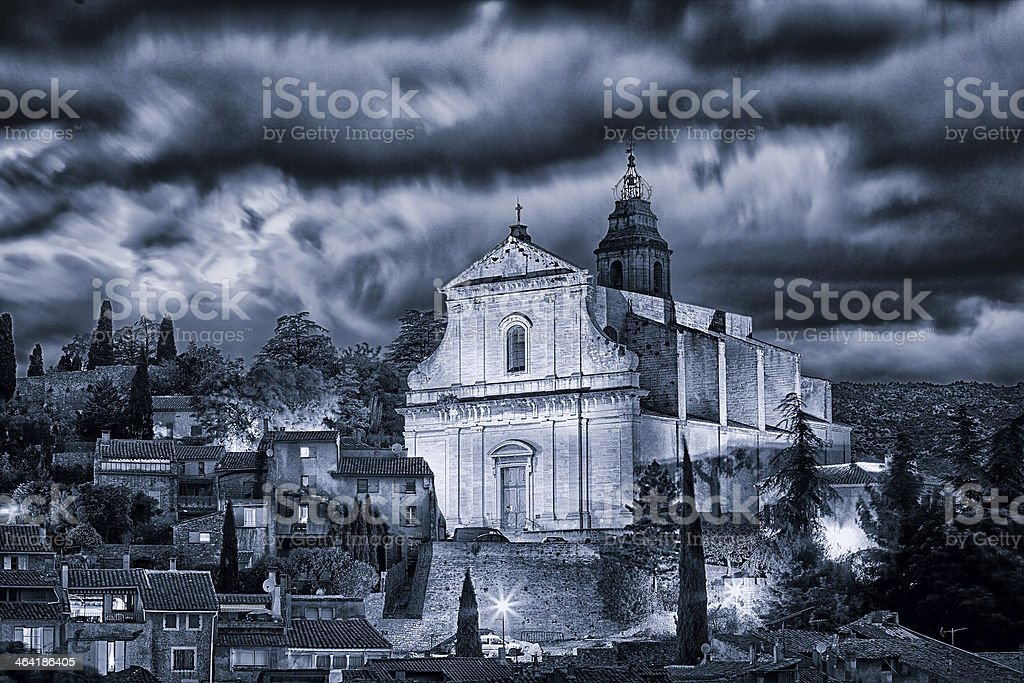 The church of Bedoin (Vaucluse, France) stock photo