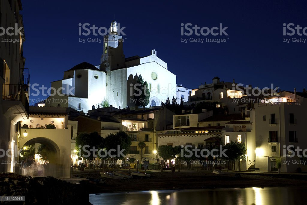 The Church of Cadaques lit at night royalty-free stock photo