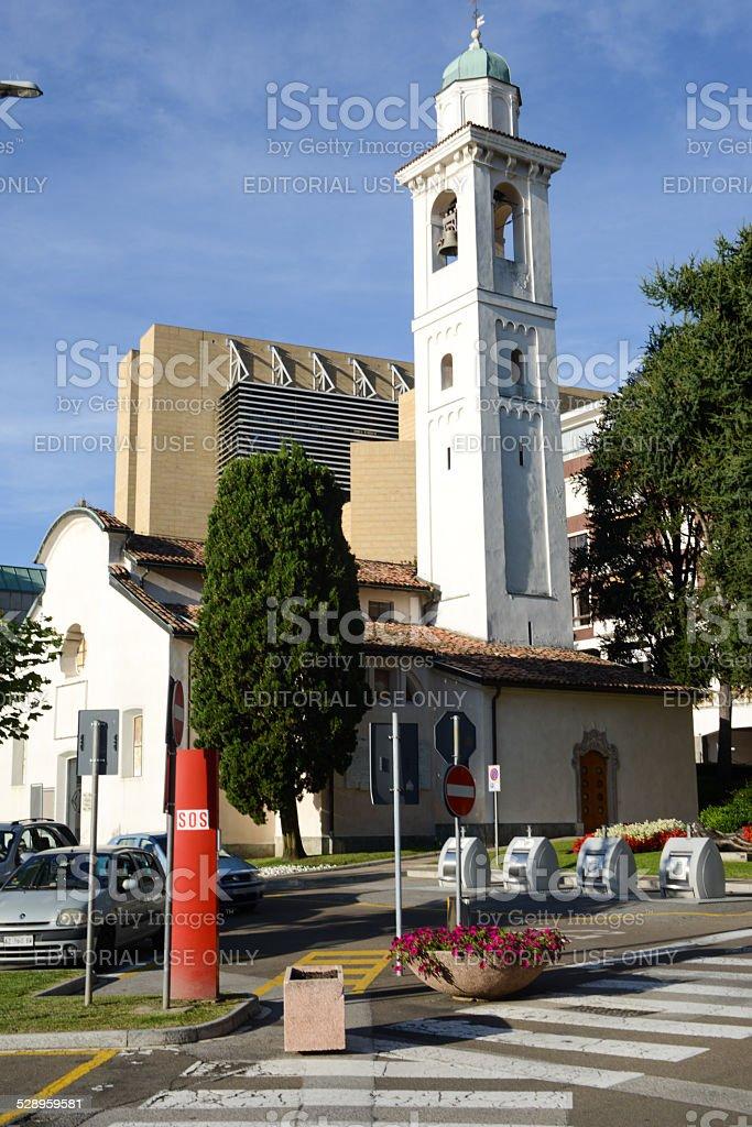 The church of Campione d'Italia on lake lugano stock photo