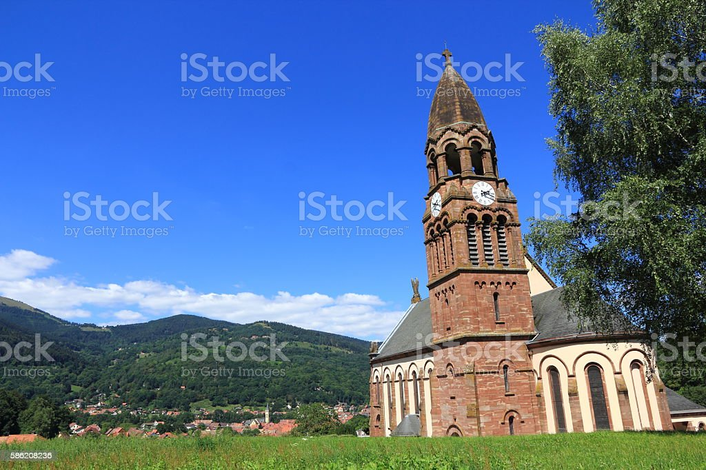 The church of Emm to Metzeral, Alsace stock photo