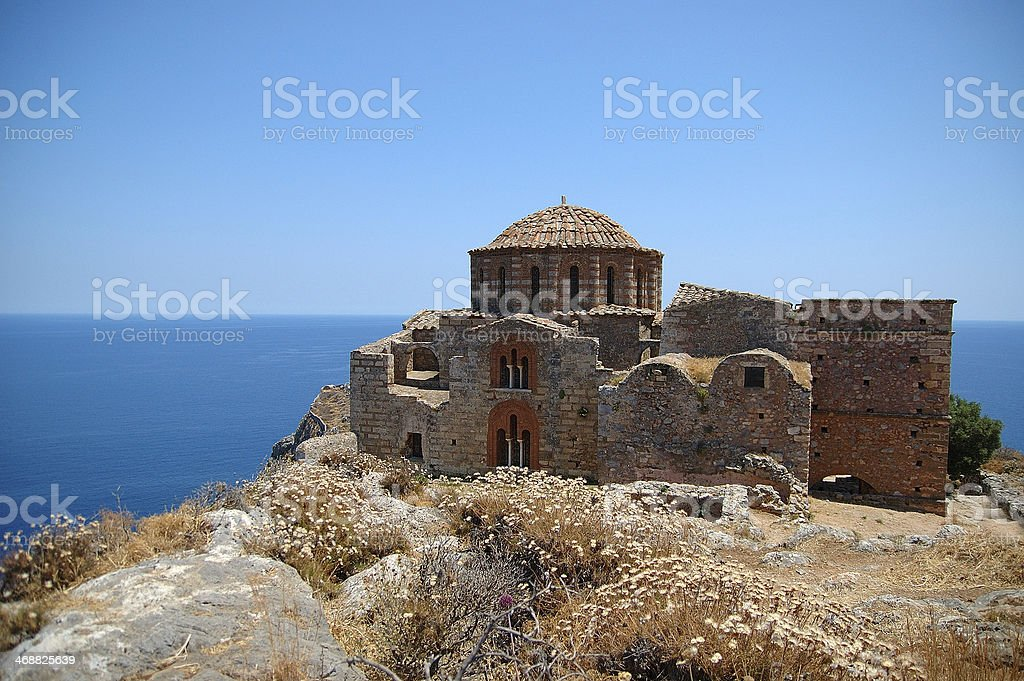 The Church of Haghia Sophia at Monemvassia (Greece) stock photo