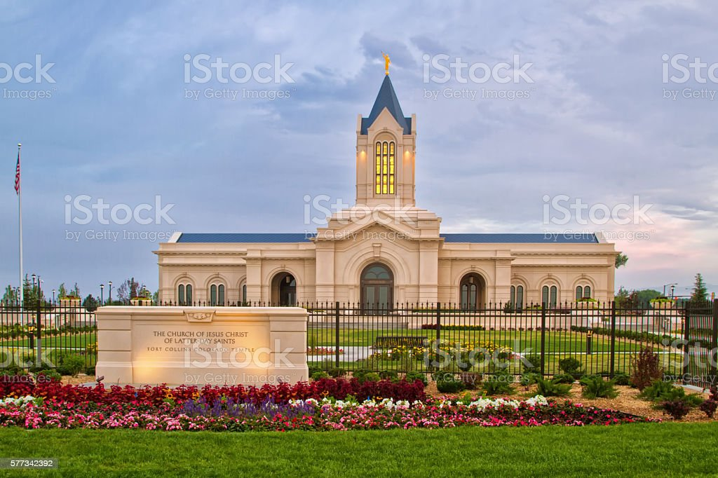 The Church of Jesus Christ of Latter-Day Saints Temple stock photo