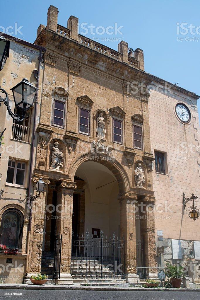 La chiesa di Maria Santissima della Catena church. Cefalu, Sicily. stock photo