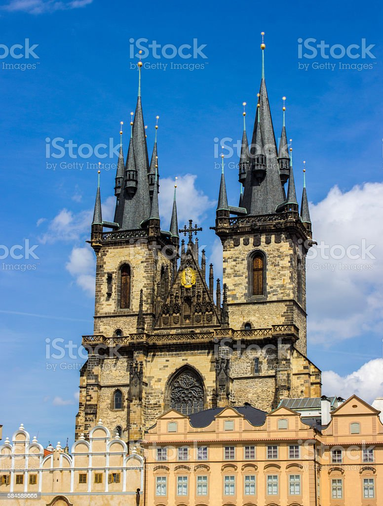 The Church of Mother of God before Tyn stock photo