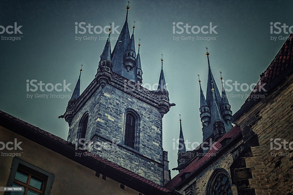 The Church of Mother of God in front of Tyn stock photo