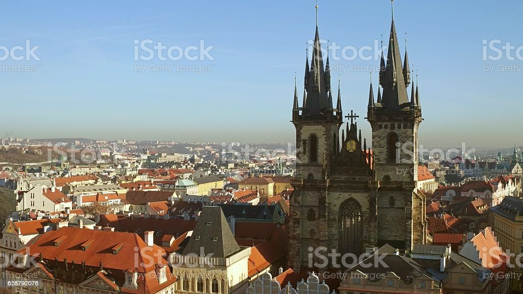 The Church of Our Lady before Tyn and tiled roofs stock photo