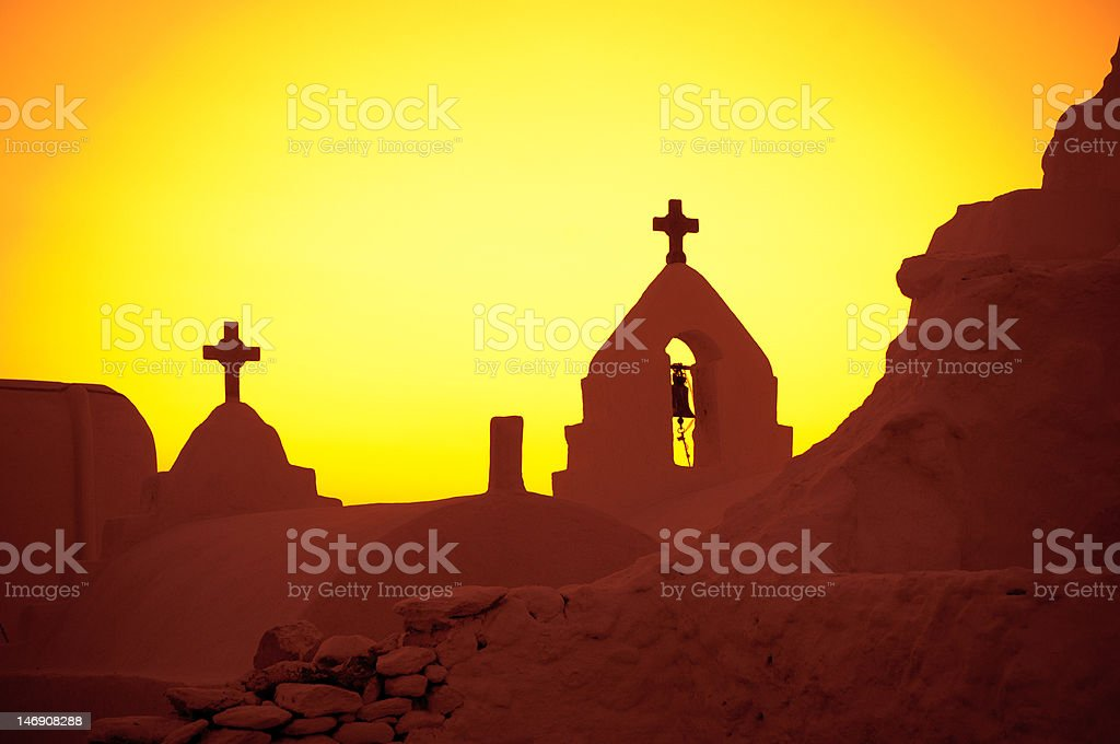 The Church of Panagia Paraportiani at sunset, Mykonos Island, Gr royalty-free stock photo