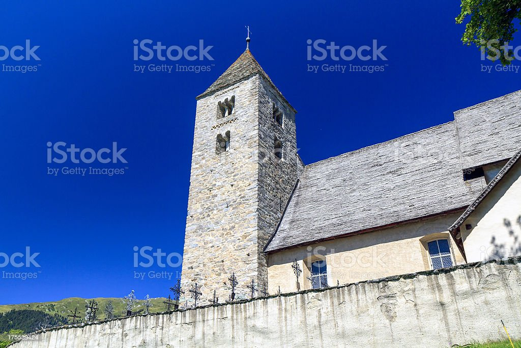 The Church of S. Rumetg /St. Remigius, Graubünden, Switzerland stock photo