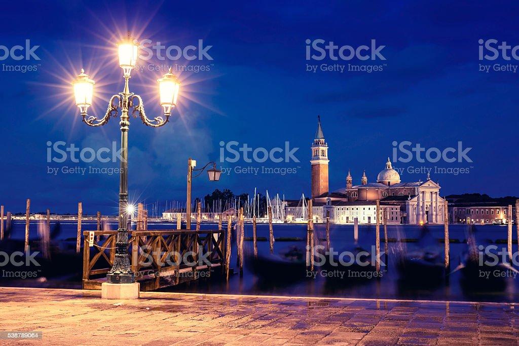 The Church of San Giorgio Maggiore at dusk stock photo