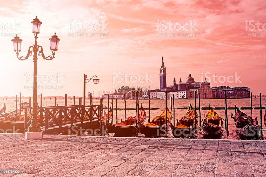 The Church of San Giorgio Maggiore at sunrise stock photo