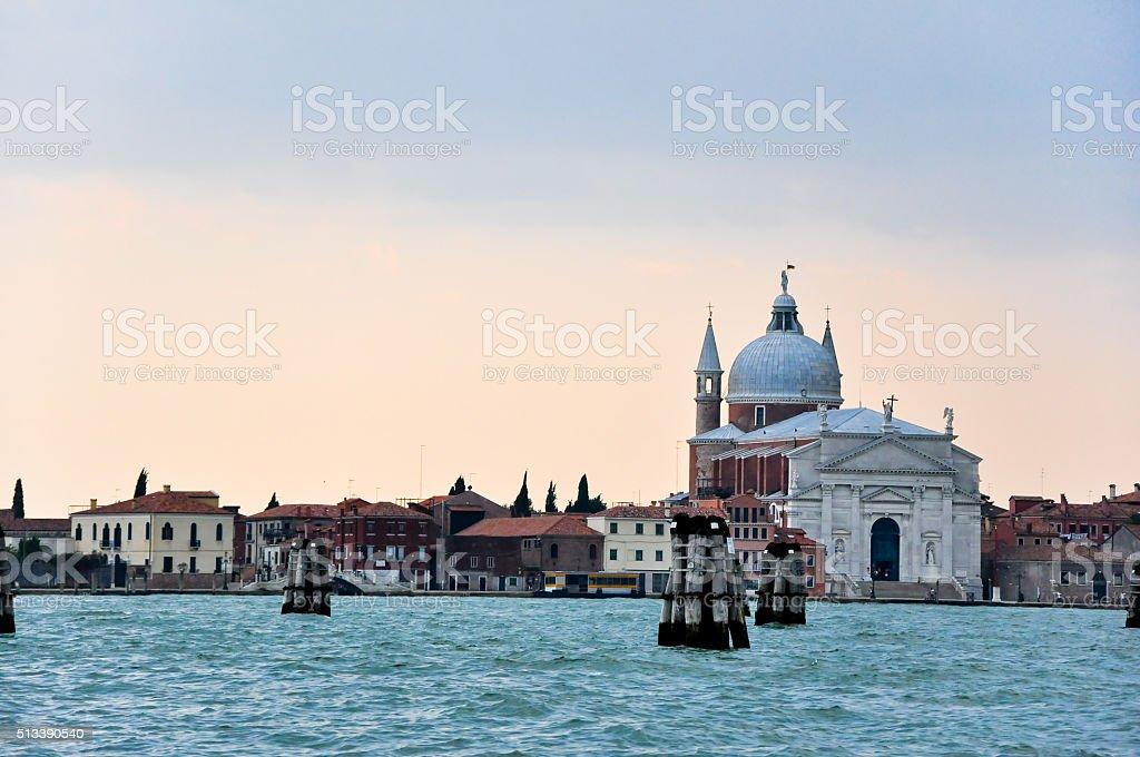 The Church of San Giorgio Maggiore in the evening. stock photo