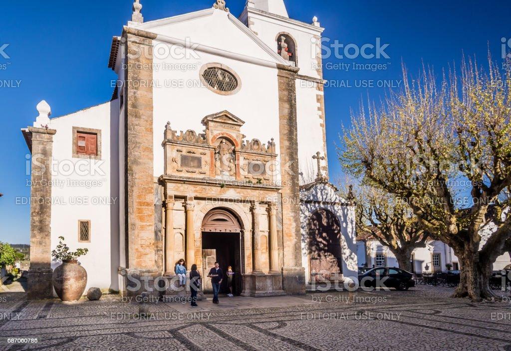 The church of Santa Maria in Obidos, Portugal stock photo