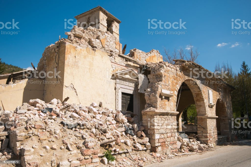 The church of Sant'Antonio Abate of Visso destroyed by earthquake stock photo