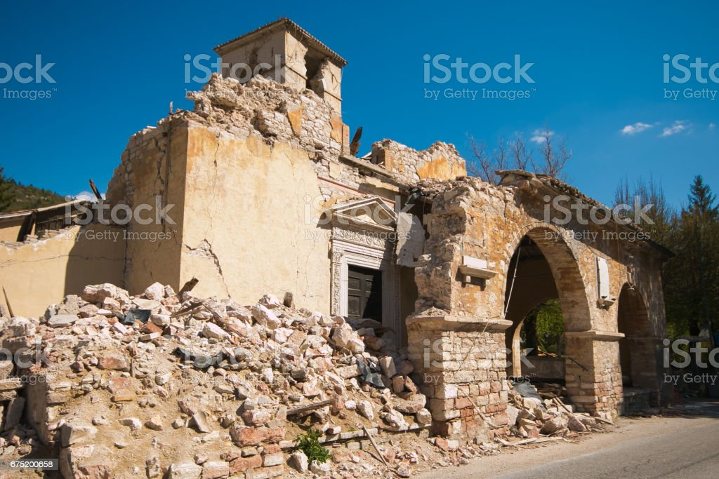 The church of Sant'Antonio Abate of Visso destroyed by terrific earthquake stock photo