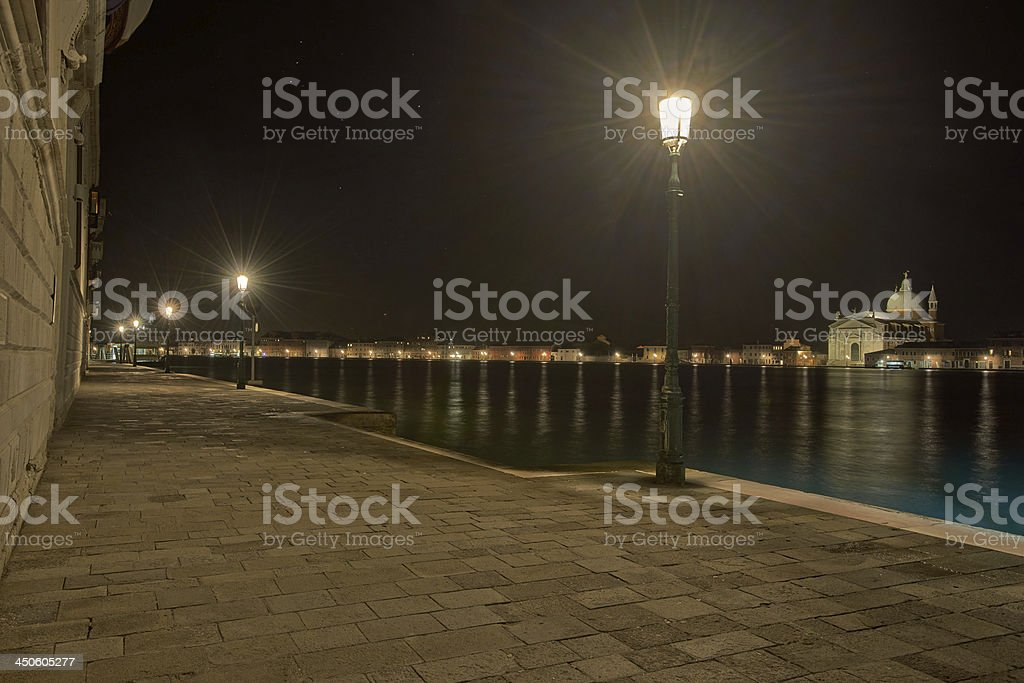 The Church of Santissimo Redentore by night stock photo