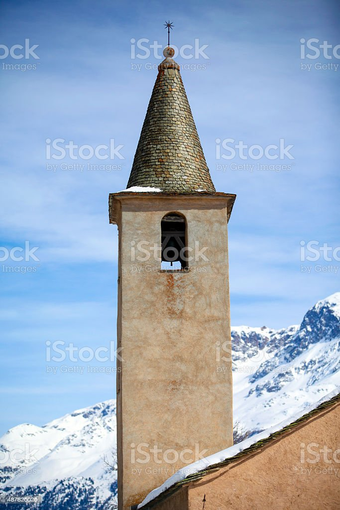 The Church of Sils in Engadin stock photo