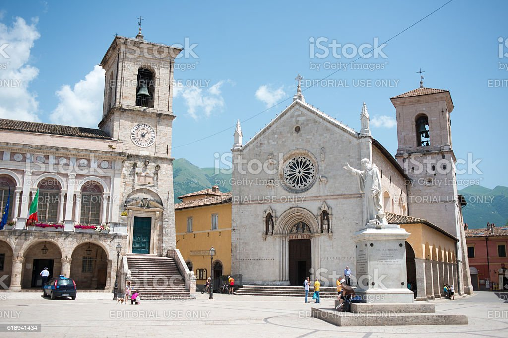 The church of St. Benedict or San Benedetto in Norcia stock photo