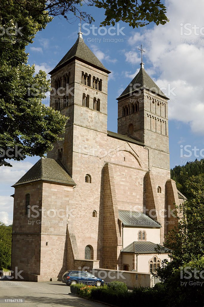 The church of St. Leger in Murbach abbey, France stock photo