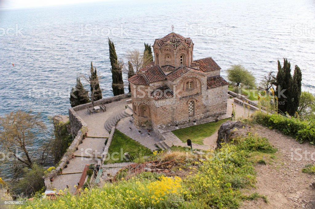 The Church of St. own at Kaneo, Ohrid, Macedonia stock photo
