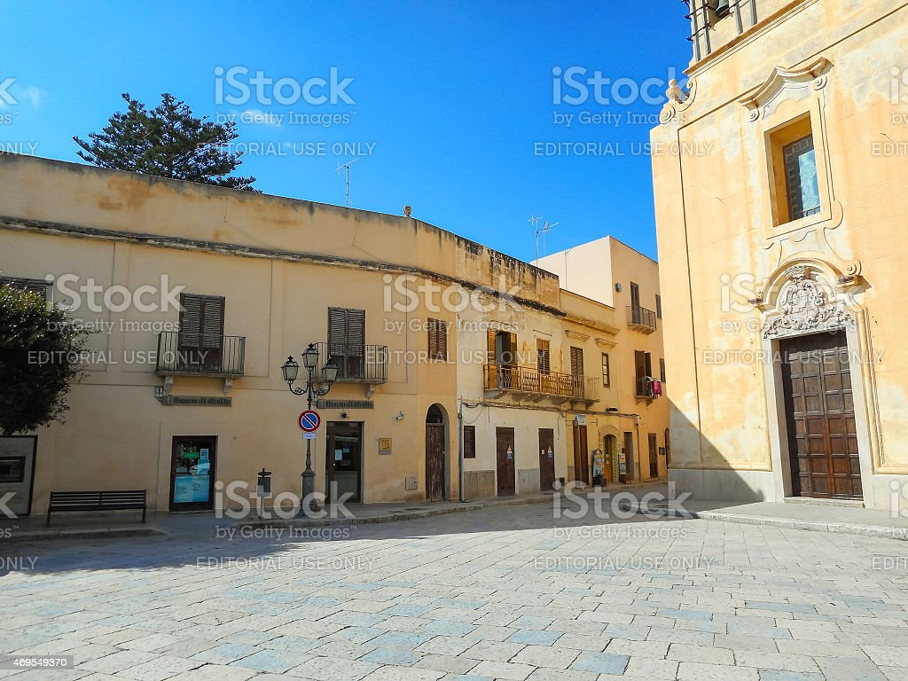 The church on the Piazza Matrice in Favignana stock photo