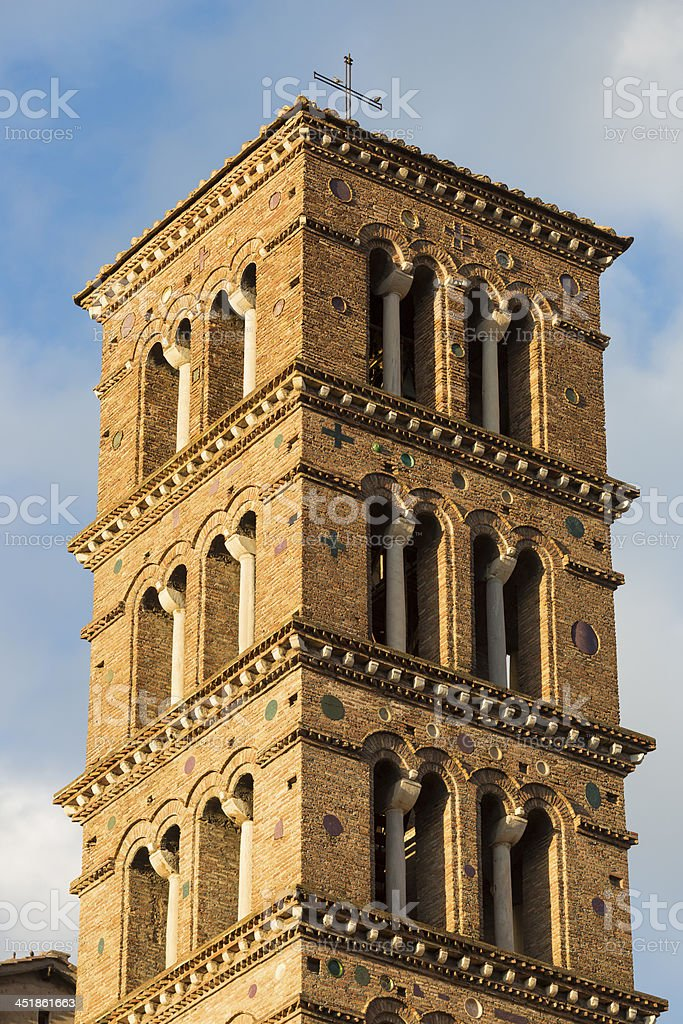 The Church SS.Giovanni e Paolo tower in Rome, Italy stock photo