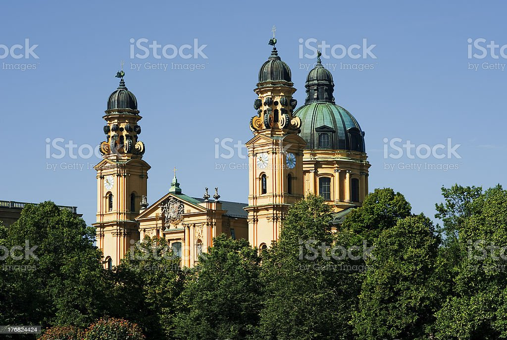 The church Theatinerkirche of Munich in Bavaria stock photo