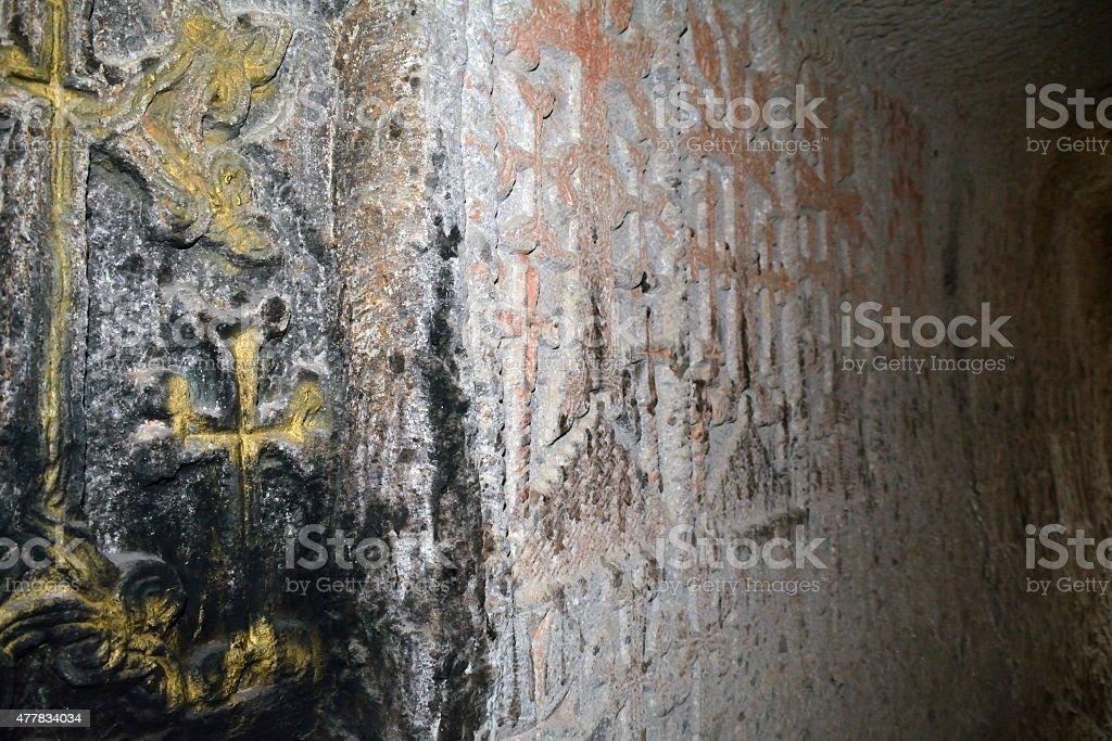 The church wall in the Geghard monastery stock photo