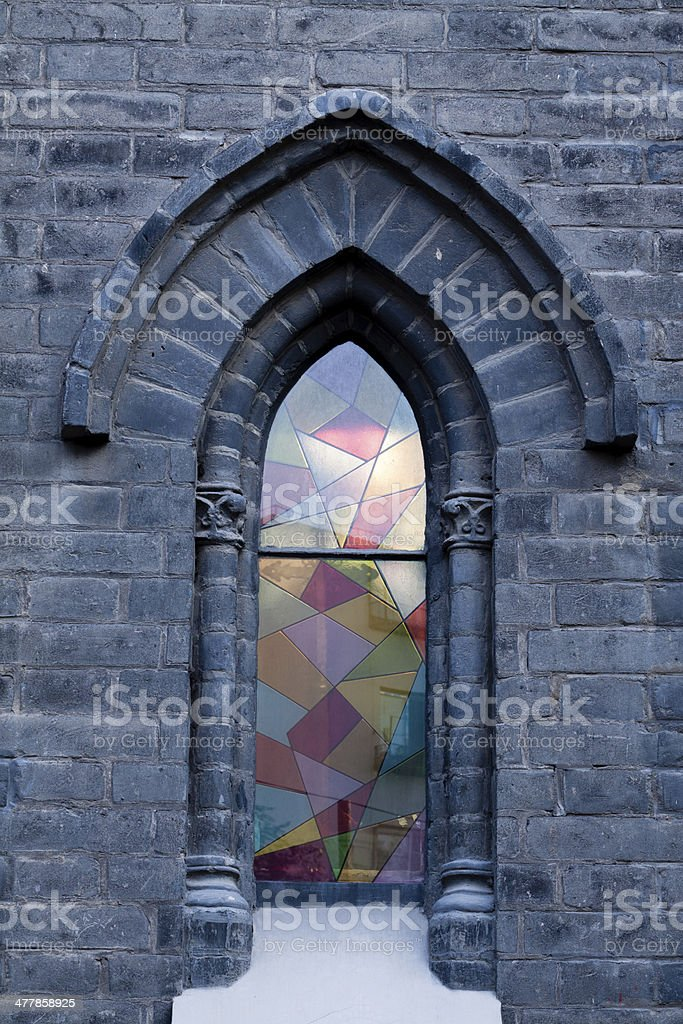 The church windows royalty-free stock photo