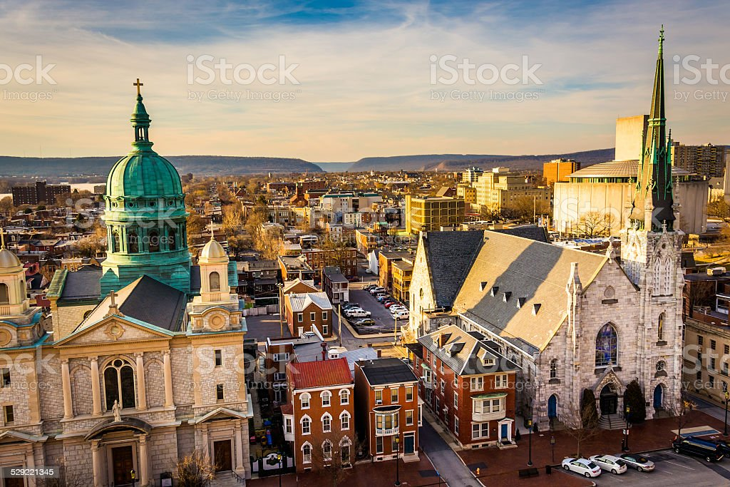 The churches and neighborhoods seen from the South Street Parkin stock photo
