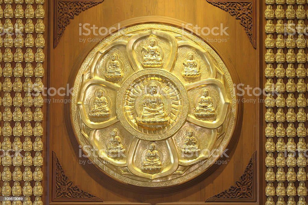 The circle of golden buddha. stock photo