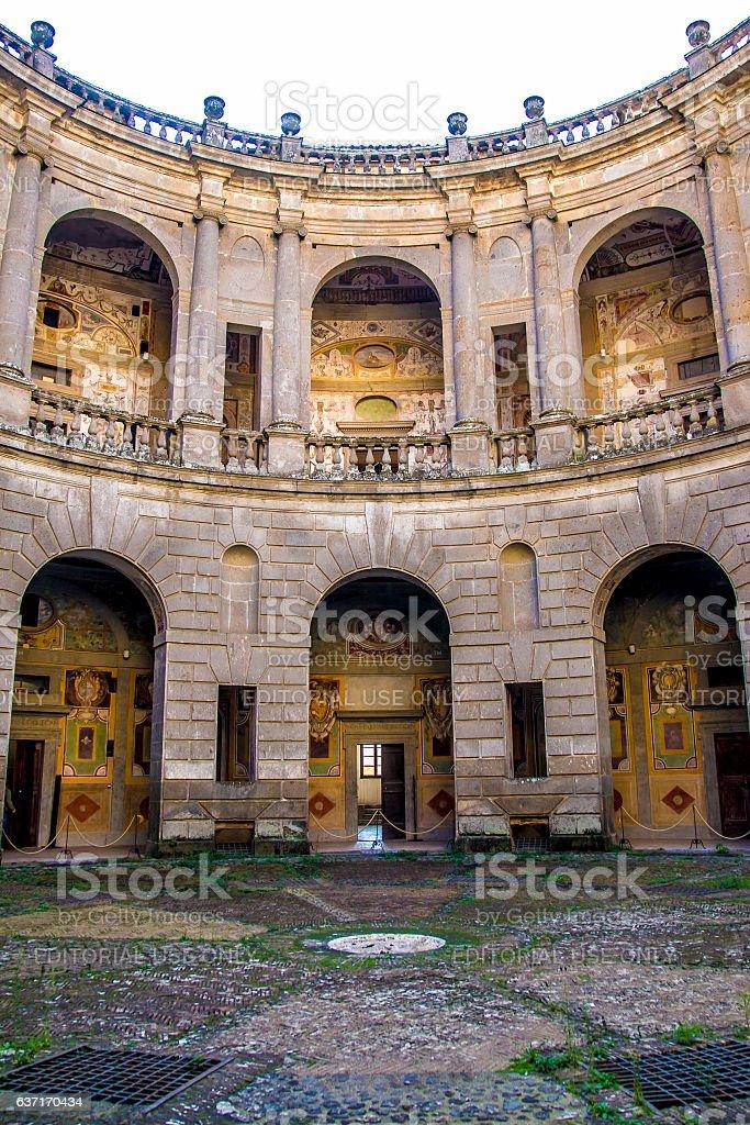 the circular courtyard of Villa Farnese in Caprarola stock photo
