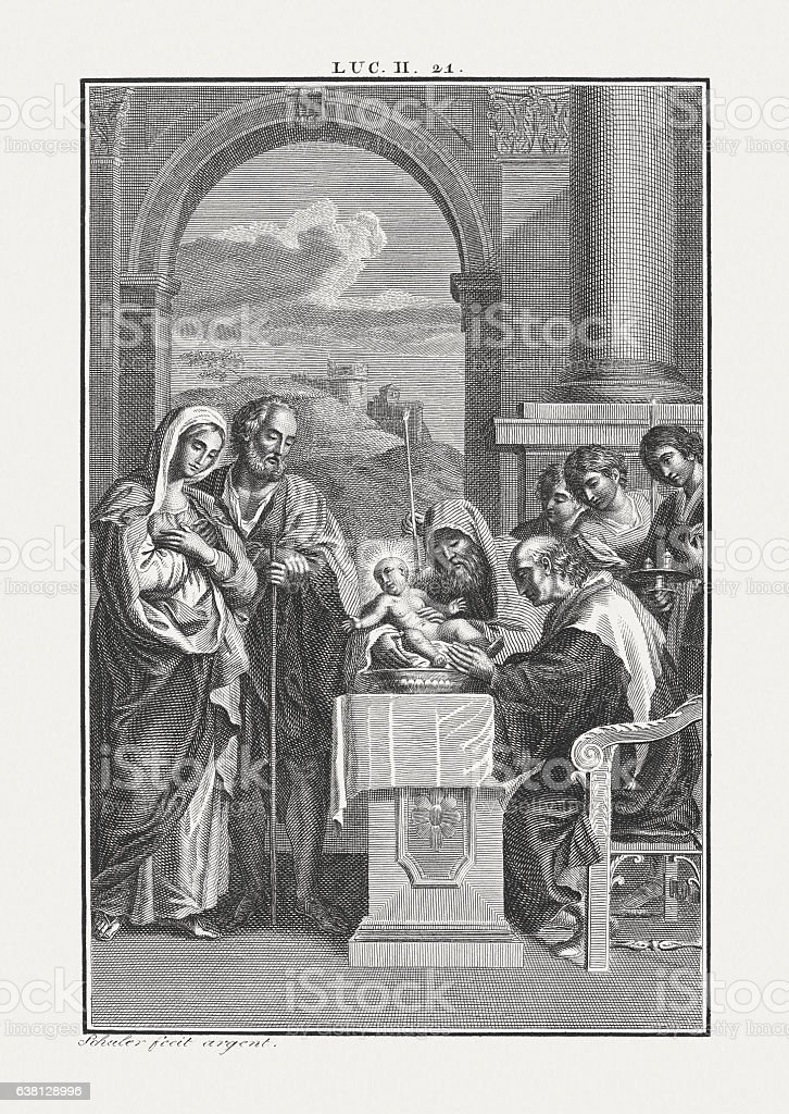 The Circumcision of Christ (Luke 2), copper engraving, published c.1850 stock photo