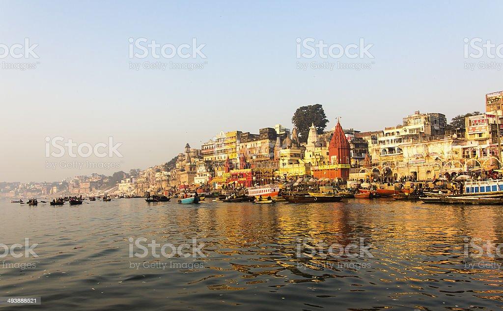 the city and ghats of Varanasi stock photo
