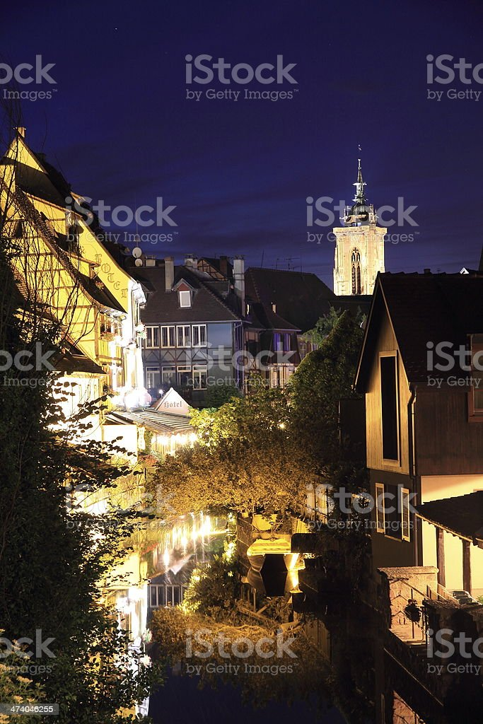 The city center of Colmar by night stock photo