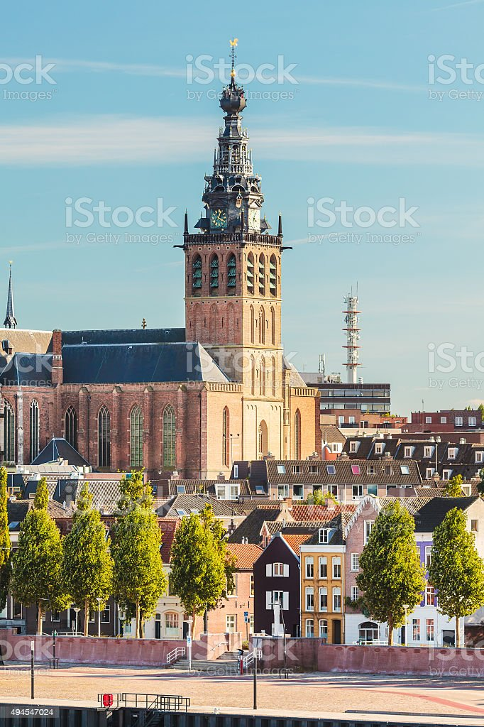 The city center of the old Dutch city of Nijmegen stock photo