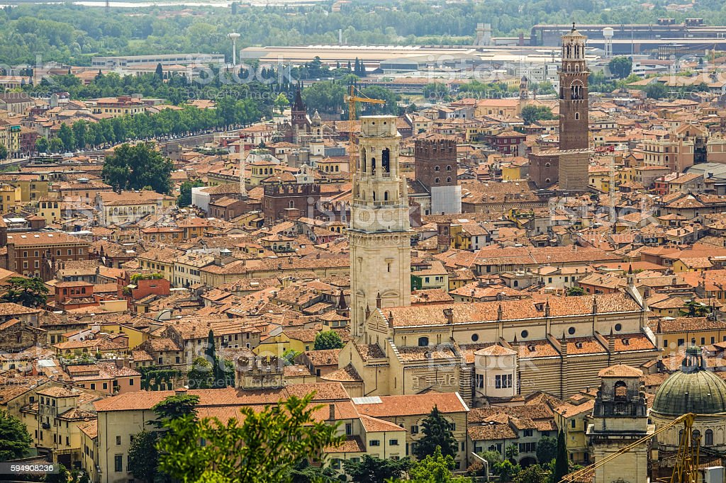 The city center of Verona Italy - aerial view Lizenzfreies stock-foto
