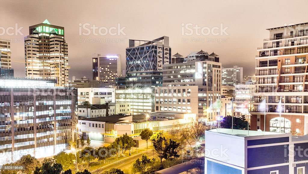The city comes alive at night stock photo