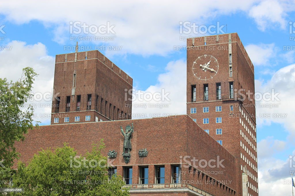 The City Hall of Oslo, Norway. stock photo