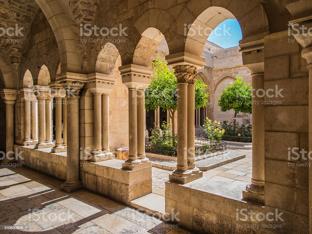 The city of Bethlehem. The Church of the Nativity Jesus stock photo