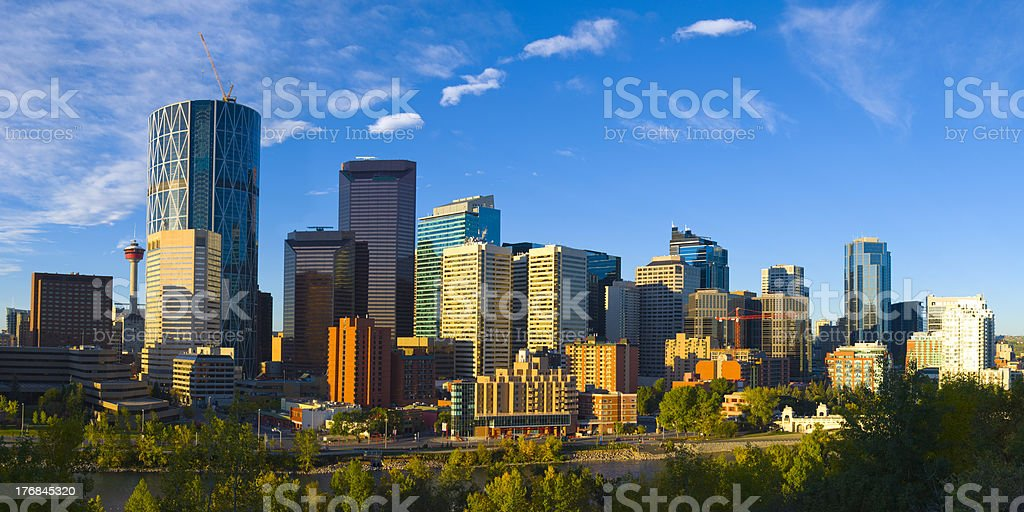 The City of Calgary Skyline at Sunrise stock photo