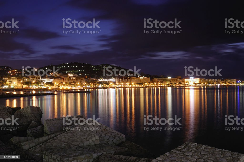 The city of Cannes, France, at night stock photo