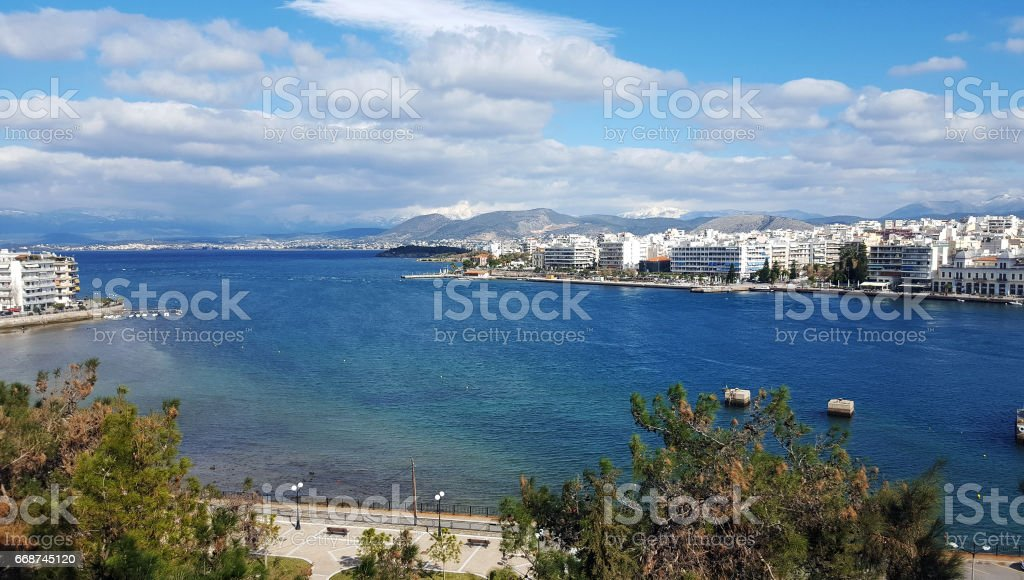 The city of Chalkida aerial view stock photo