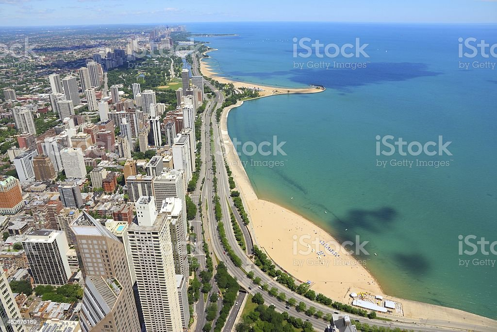 The city of Chicago by the water stock photo