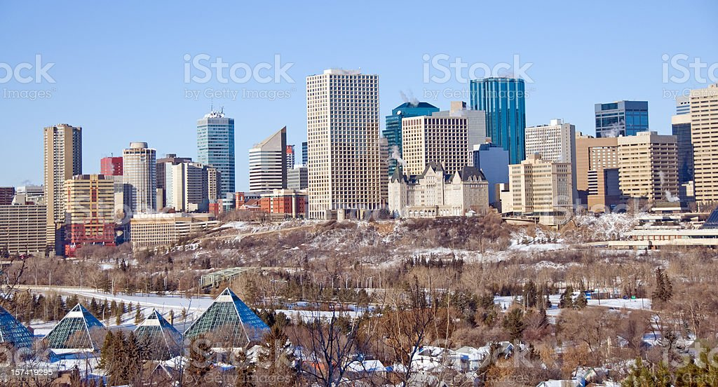 The City of Edmonton in Winter royalty-free stock photo